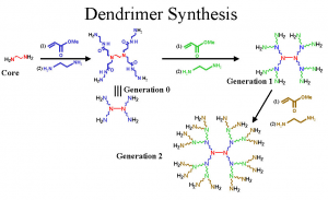 The formation of dendrimers, an alternative type of nanoparticle.