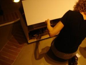 A peek inside the art piece's mainframe.