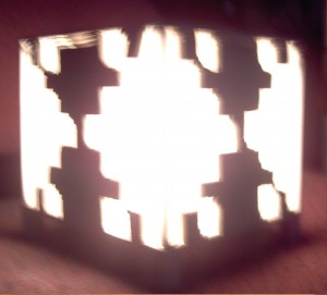 A photo of the fractal lamp lit up.