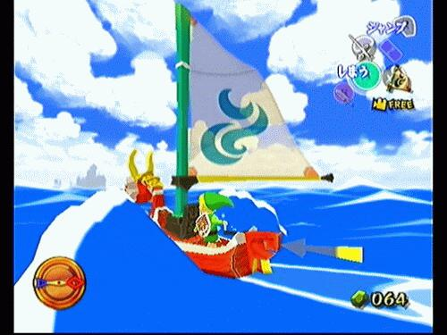 2d looking image, of link on his  boat, completely made with 3d graphics.